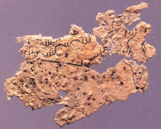 Worlds oldest known paper, a map from the 2nd century BCE