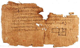 Papyrus with written mathematical proof